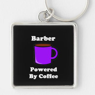 """""""Barber"""", Powered by Coffee Silver-Colored Square Keychain"""