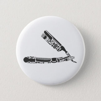 barber razor icons pinback button