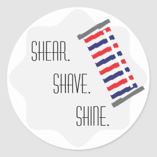 Barber Red Collection Sticker Shear. Shave. Shine.