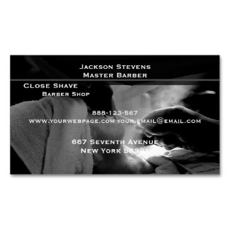 Barber Shave Straight Edge Razor Photograph Business Card Magnet