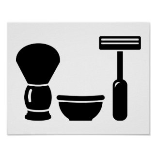 Barber shaving equipment poster