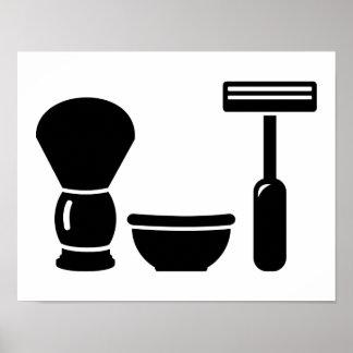Barber shaving equipment poster