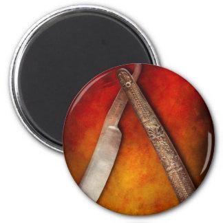 Barber - Shaving - Keep a stiff upper lip 2 Inch Round Magnet