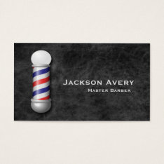 Barber Shop Barber Pole Leather Business Card at Zazzle