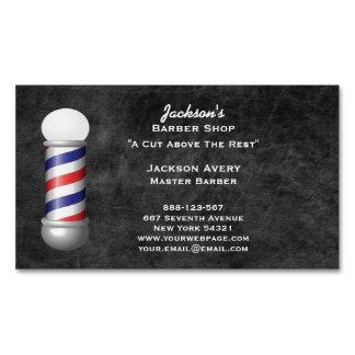 Barber Shop Barber Pole Leather Business Card Magnet