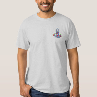 Barber Shop Birdhouse Embroidered T-Shirt