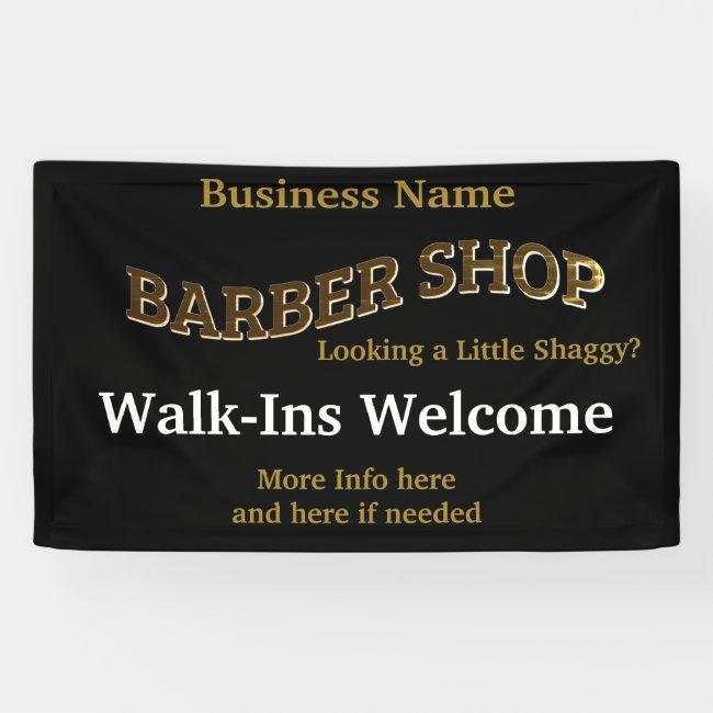 Barber Shop Black Gold Reopen America Banner