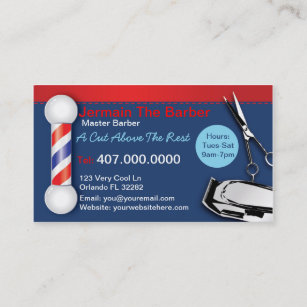 Barber shop business cards templates zazzle barber shop business cards barber pole clippers colourmoves