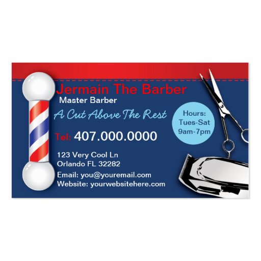 Barber Shop Business Cards Barber pole clippers Business