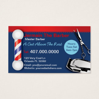 Barber Shop Business Cards (Barber pole clippers)