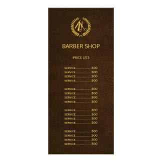 Barber shop dark brown leather look price list rack card