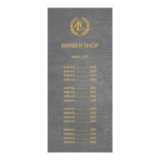 Barber shop dark grey leather look price list rack card