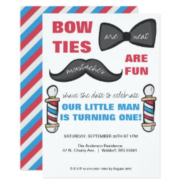 Barber Shop First Birthday Party Invitation
