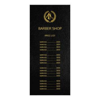 Barber shop gold black leather look price list rack card