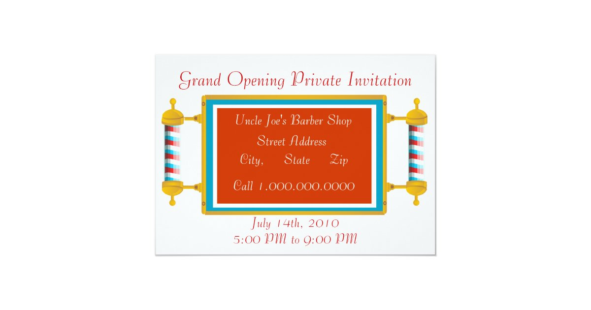 Grand openings invitations zazzle barber shop grand opening card stopboris Gallery