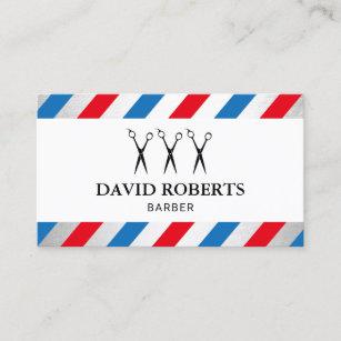 Barber shop business cards templates zazzle barber shop hair stylist blue red stripes business card colourmoves