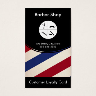 Barber Shop Loyalty Business Card Punch Card