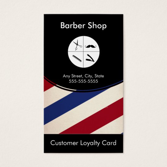 barber shop loyalty business card punch card zazzle. Black Bedroom Furniture Sets. Home Design Ideas