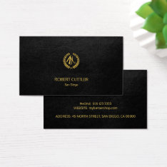 Barber Shop Luxury Simple Black Leather Look Business Card at Zazzle