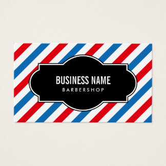 Barber Shop Professional Blue & Red Stripes Business Card