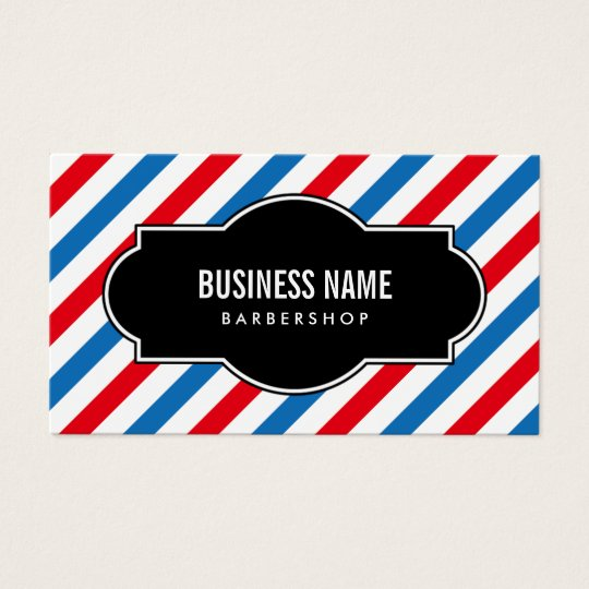 Barber Shop Professional Blue & Red Stripes Business Card | Zazzle