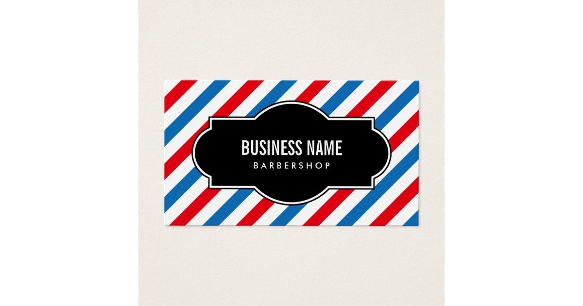 Barber Shop Professional Blue & Red Stripes Business Card | Zazzle.com