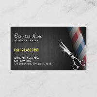 Barber Shop Professional Dark Wood Silver Scissor Business Card