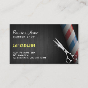 Barber Professional Dark Wood Silver Scissor Business Card