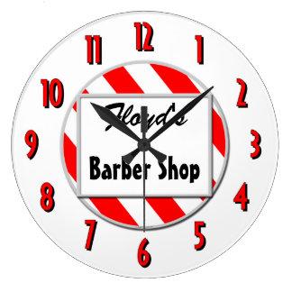 Barber Shop Red White Custom Retro Clock