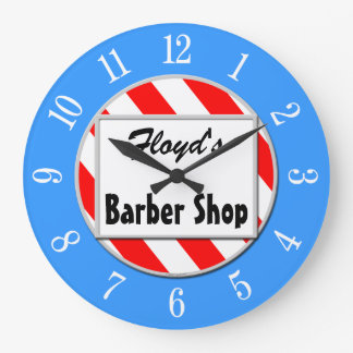 Barber Shop Retro Red White Blue Custom Clock
