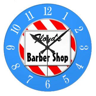 Barber Shop Retro Red White Blue Custom Clock