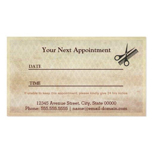 Barber Shop Salon  - Vintage Appointment Card Business Card (back side)