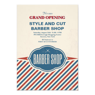 Barber Shop Stripes Grand Opening Announcement