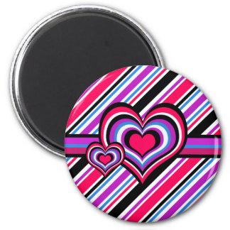 Barber shop stripes, hearts, pink, blue 2 inch round magnet