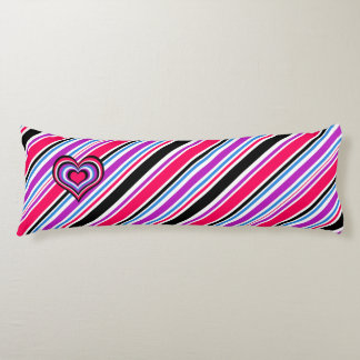 Barber shop stripes, hearts, pink, blue body pillow