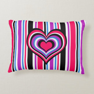 Barber shop stripes, hearts, pink, blue decorative pillow