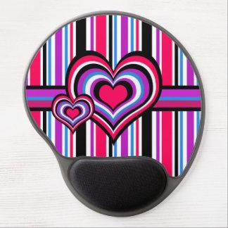 Barber shop stripes, hearts, pink, blue gel mouse pad
