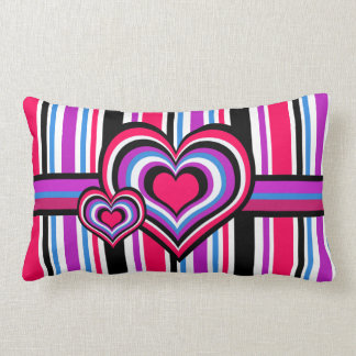 Barber shop stripes, hearts, pink, blue throw pillow