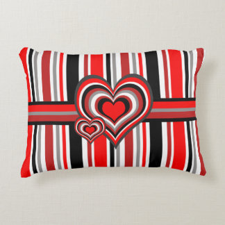 Barber shop stripes with heart red accent pillow