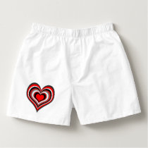 Barber shop stripes with heart red boxers