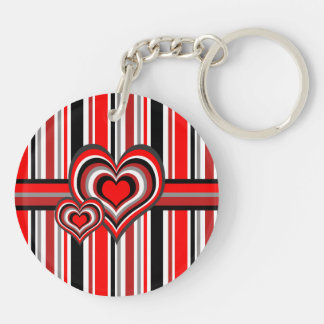Barber shop stripes with heart red Double-Sided round acrylic keychain