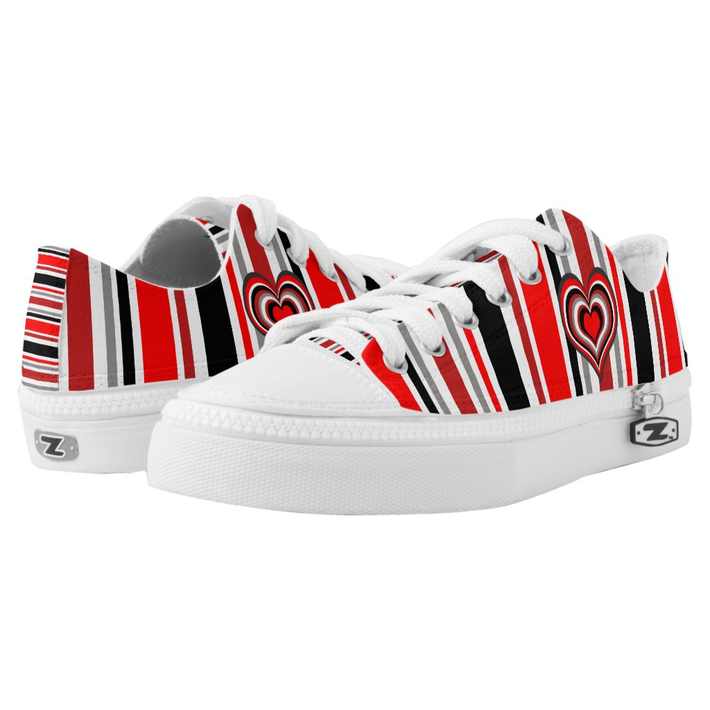 Barber shop stripes with heart red Low-Top sneakers