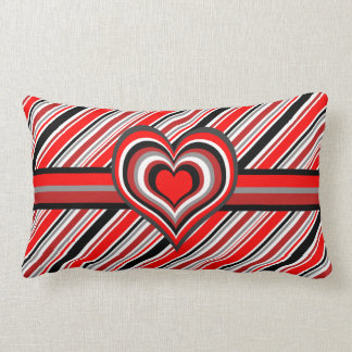 Barber shop stripes with heart red pillow