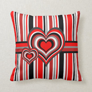 Barber shop stripes with heart red throw pillow