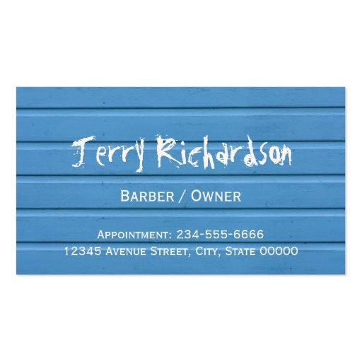 Barber Shop - Stylish Blue Wood and Mustache Business Card Templates (back side)