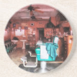 Barber Shop With Green Barber Chairs Drink Coaster