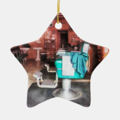 Barber Shop With Green Barber Chairs Christmas Ornaments