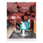 Barber Shop With Green Barber Chairs Post Card