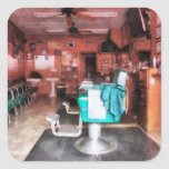 Barber Shop With Green Barber Chairs Stickers