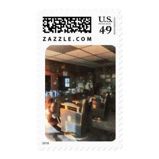 Barber Shop With Sun Streaming Through Window Postage
